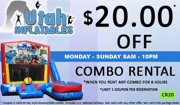 Save $20.00 of an inflatable bounce and slide combo rental in Utah