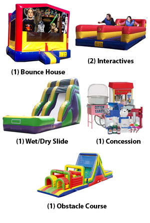 Bounce House, Inflatable Interactive, Obstacle Course, Slide and Concession