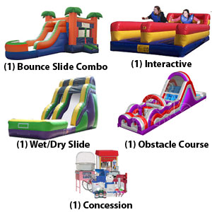 bounce slide combo, interactive, water slide, obstacle course and concession