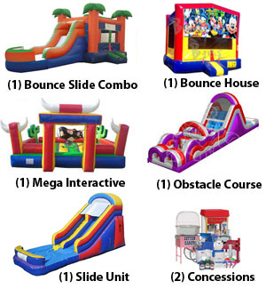 bounce slide combo, bounce house, mechanical bull, bungee trampoline, obstacle course, slide, concessions school carnival package