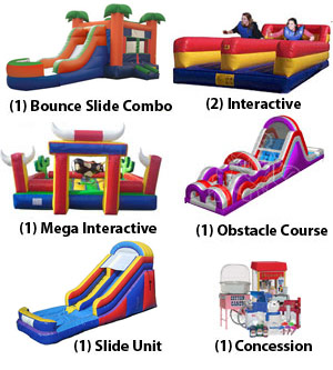 Bounce Slide Combo, Inflatable interactive, mechanical bull, obstacle course, slide and concession Ultimate Fun