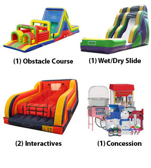 Obstacle Course, Water Slide, Concession, Interactives Youth Group Craze Package